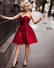 Burgundy Homecoming Dresses Sweetheart Lace Chic Short Prom Dress Party Dress JK731|Annapromdress