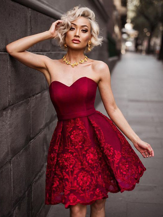 661fc7268d51 Burgundy Homecoming Dresses Sweetheart Lace Chic Short Prom Dress Party  Dress JK731|Annapromdress