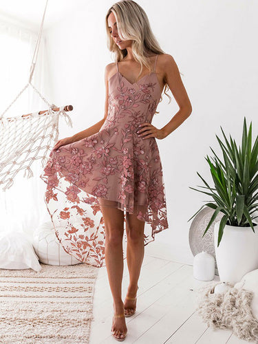 High Low Homecoming Dresses Spaghetti Straps Lace Short Prom Dress Party Dress JK739|Annapromdress
