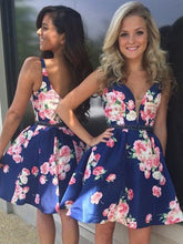 Cute Homecoming Dresses Straps A Line Floral Print Short Prom Dress Party Dress JK743|Annapromdress
