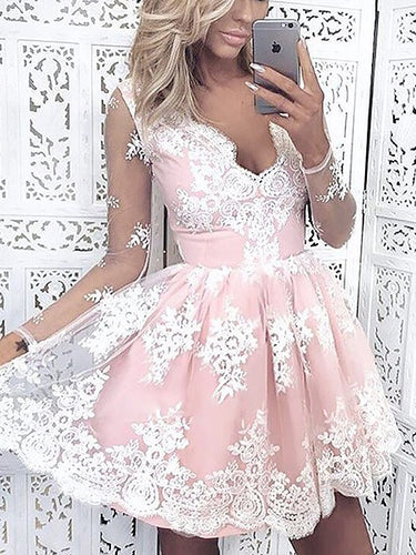 Long Sleeve Beautiful Homecoming Dresses Lace V-neck Short Prom Dress Party Dress JK744|Annapromdress