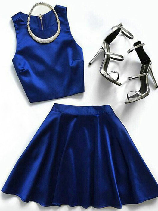 Two Piece Homecoming Dresses Royal Blue Simple Short Prom Dress Party Dress JK751|Annapromdress