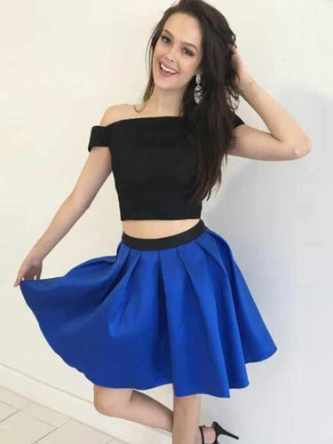 Two Piece Homecoming Dresses A line Simple Cheap Short Prom Dress Party Dress JK755|Annapromdress