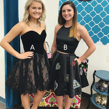 Two Piece Homecoming Dresses Little Black Dress Lace Short Prom Dress Party Dress JK756|Annapromdress