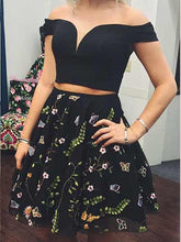 Two Piece Homecoming Dresses Little Black Dress Short Prom Dress Lace Party Dress JK757|Annapromdress