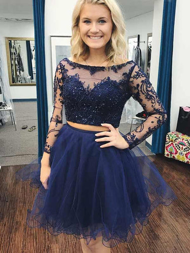 Two Piece Homecoming Dresses A-line Lace Dark Navy Short Prom Dress Party Dress JK758|Annapromdress