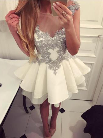 Cute Homecoming Dresses Scoop Aline Appliques Short Prom Dress Party Dress JK761|Annapromdress