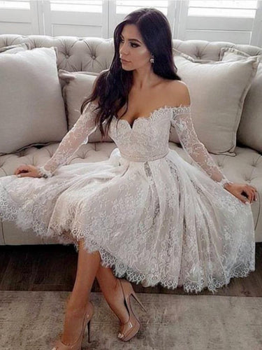 Long Sleeve Homecoming Dresses A line Lace Short Prom Dress Chic Party Dress JK762|Annapromdress