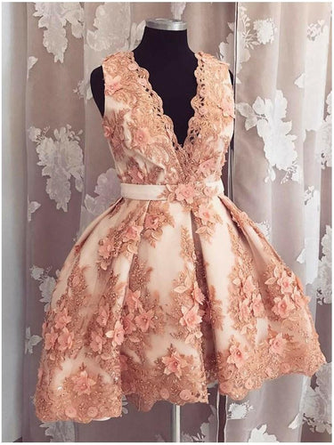 Sparkly Homecoming Dresses V Neck Lace Chic Short Prom Dress Sexy Party Dress JK764|Annapromdress