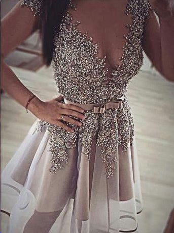 Sparkly Homecoming Dresses Beading A line Sexy Short Prom Dress Party Dress JK765|Annapromdress