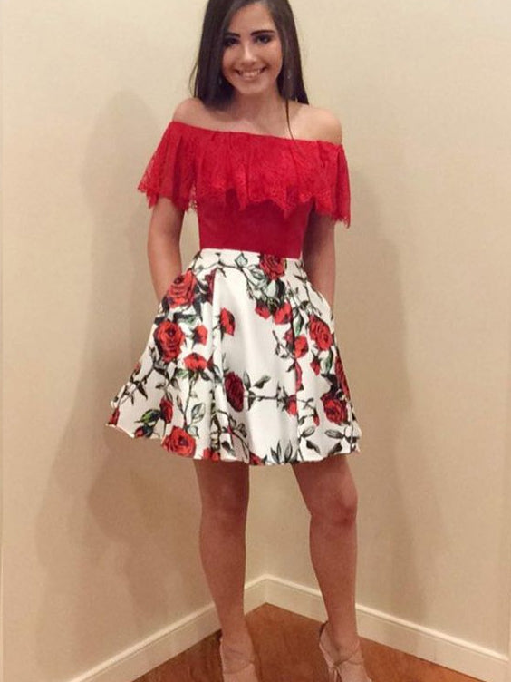 Red Homecoming Dresses Rose Floral Print Aline Lace Short Prom Dress Party Dress JK767|Annapromdress