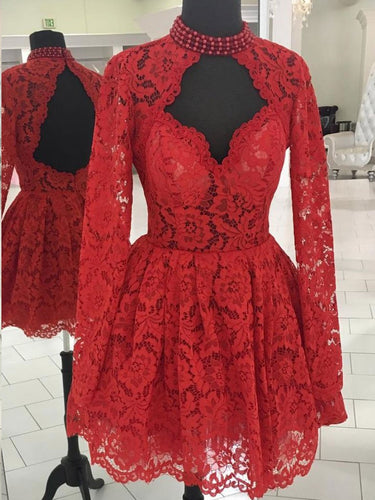 Long Sleeve Homecoming Dresses Open Back Lace Red Short Prom Dress Party Dress JK770|Annapromdress