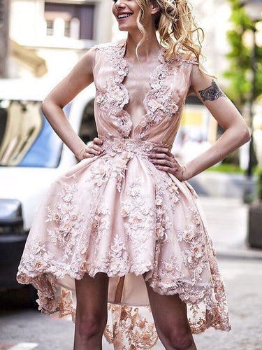 High Low Homecoming Dresses A Line Cute Lace Pink Short Prom Dress Party Dress JK773|Annapromdress
