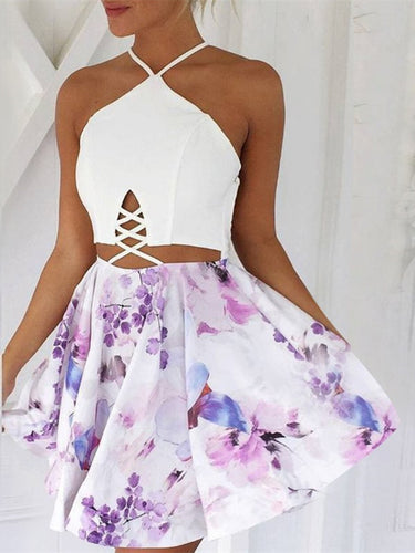 Open Back Homecoming Dresses Floral Print Aline Short Prom Dress Sexy Party Dress JK774|Annapromdress