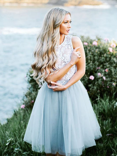 Two Piece Homecoming Dresses Lace Tulle Simple Short Prom Dress Party Dress JK775|Annapromdress