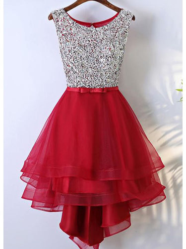 High Low Homecoming Dresses Red Beading A line Short Prom Dress Cute Party Dress JK777|Annapromdress