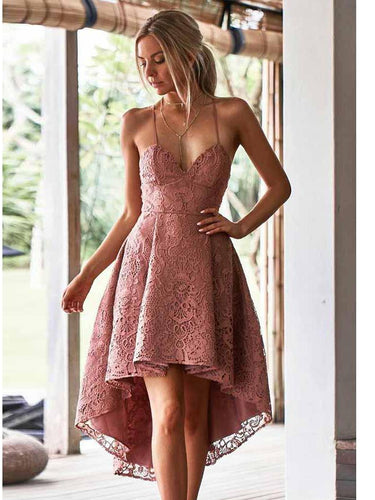 High Low Homecoming Dresses Spaghetti Straps Lace Short Prom Dress Party Dress JK778|Annapromdress