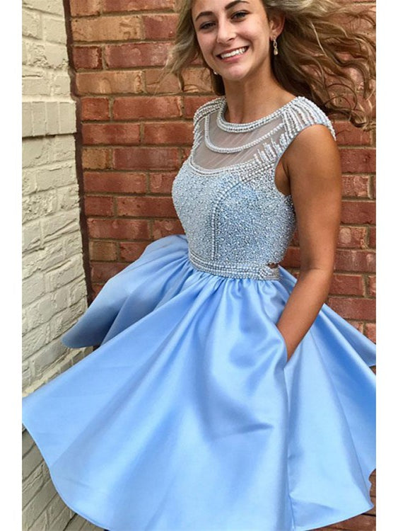 Beautiful Homecoming Dresses A Line Cute Beading Short Prom Dress Party Dress JK780|Annapromdress