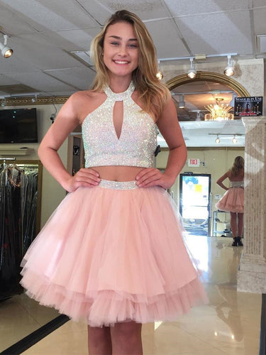 Two Piece Homecoming Dresses Halter Beading Blush Pink Short Prom Dress Party Dress JK793|Annapromdress
