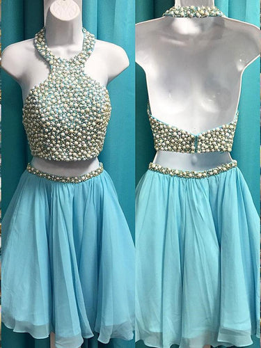Two Piece Homecoming Dresses Beading Chiffon Short Prom Dress Halter Party Dress JK794|Annapromdress