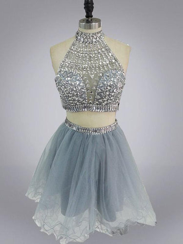Two Piece Homecoming Dresses Beautiful Rhinestone Short Prom Dress Sexy Party Dress JK796|Annapromdress