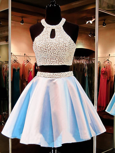 Two Piece Homecoming Dresses Beading Sparkly Short Prom Dress Sexy Party Dress JK798|Annapromdress