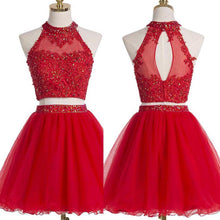 Two Piece Red Homecoming Dresses A Line Beading Short Prom Dress Sexy Party Dress JK803