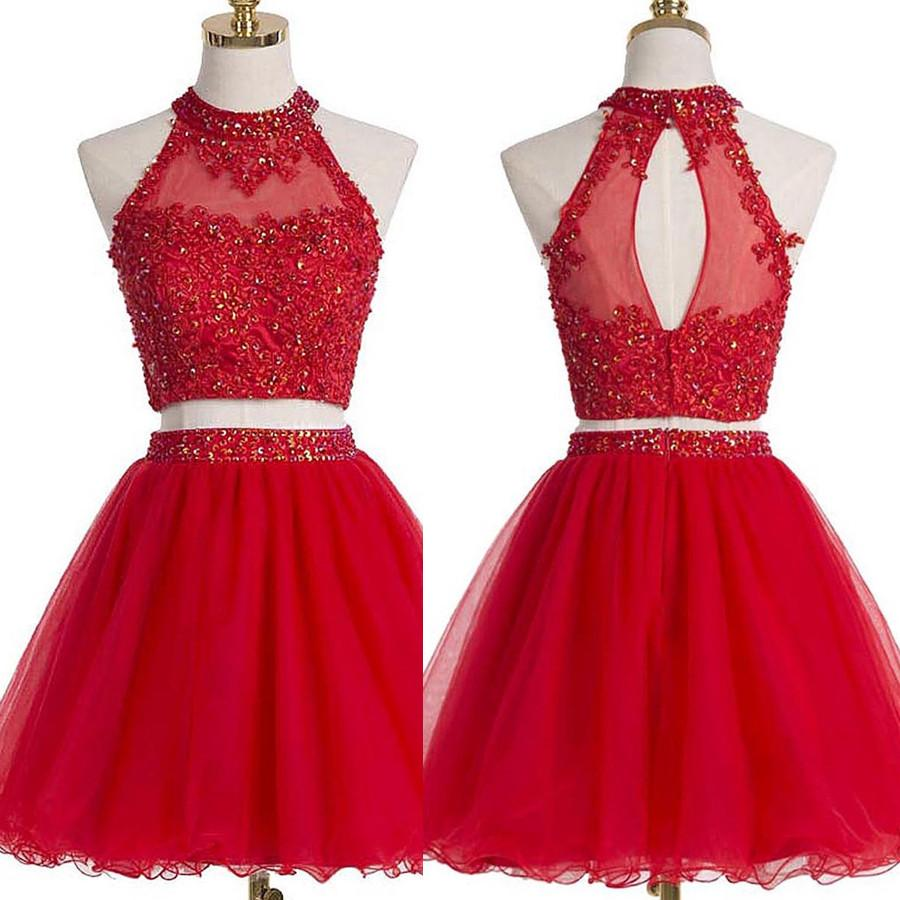 ... Two Piece Red Homecoming Dresses A Line Beading Short Prom Dress Sexy  Party Dress JK803 ... 5145fc29e