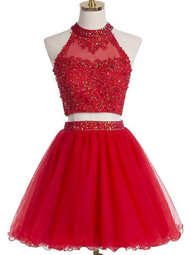 Two Piece Red Homecoming Dresses A Line Beading Short Prom Dress Sexy Party Dress JK803|Annapromdress