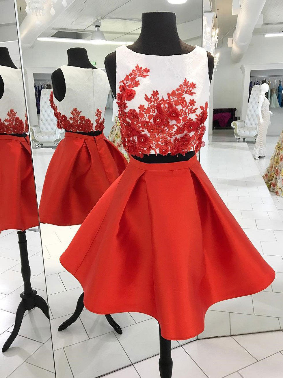 Two Piece Red Homecoming Dresses Lace A-line Bateau Short Prom Dress Party Dress JK805|Annapromdress