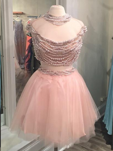 Two Piece Homecoming Dresses Pearl Pink Sparkly Short Prom Dress Beading Party Dress JK809|Annapromdress