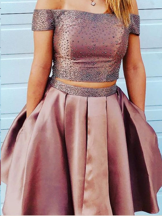 Two Piece Homecoming Dresses A Line Beading Short Prom Dress Sexy Party Dress JK819|Annapromdress