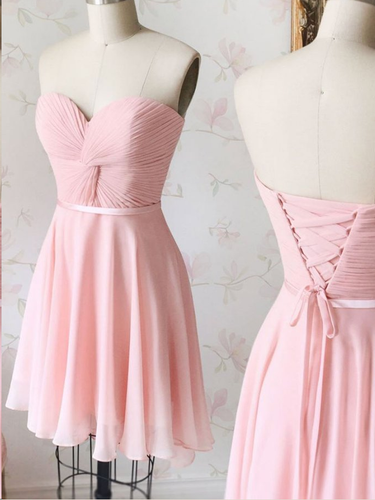 Cute Homecoming Dresses Chiffon Sweetheart Short Prom Dress Pink Party Dress JK820|Annapromdress