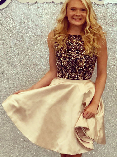 Sparkly Homecoming Dresses Aline Bateau Rhinestone Short Prom Dress Party Dress JK823|Annapromdress
