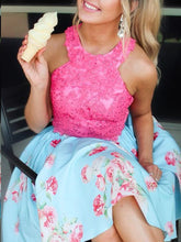 Two Piece Homecoming Dresses A-line Floral Print Hot Pink Short Prom Dress Party Dress JK831|Annapromdress