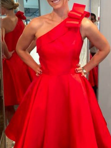 Simple Red Homecoming Dresses Cheap One Shoulder A Line Short Prom Dress Party Dress JK832|Annapromdress