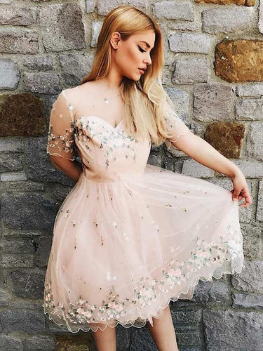Beautiful Homecoming Dresses A Line Short Sleeve Lace Short Prom Dress Cute Party Dress JK834|Annapromdress