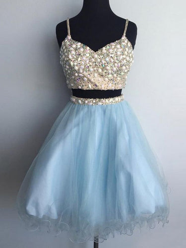 Two Piece Homecoming Dresses Aline Sparkly Short Prom Dress Sexy Party Dress JK837|Annapromdress