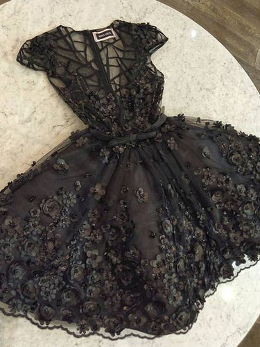 Little Black Dress Lace Homecoming Dresses V-neck Short Prom Dress Party Dress JK840|Annapromdress