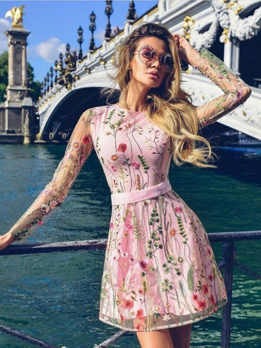 Long Sleeve Homecoming Dresses A Line Pink Lace Short Prom Dress Cute Party Dress JK841|Annapromdress