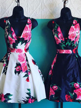 Open Back Homecoming Dresses Aline Floral Print Short Prom Dress Party Dress JK854|Annapromdress