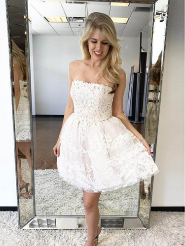 Cute Homecoming Dresses Aline Strapless Lace Short Prom Dress Party Dress JK855|Annapromdress