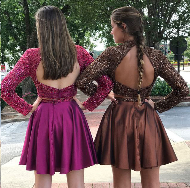 Two Piece Homecoming Dresses Long Sleeve Sparkly Short Prom Dress