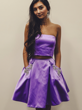 Two Piece Homecoming Dresses Aline Rhinestone Lilac Short Prom Dress Party Dress JK861|Annapromdress
