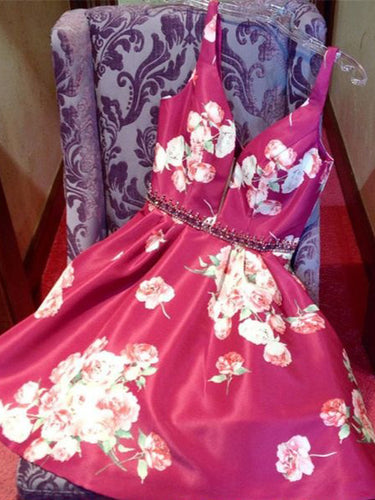 Floral Print Homecoming Dresses A-line Fuchsia Short Prom Dress Party Dress JK865|Annapromdress
