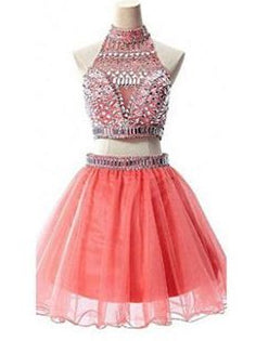 Two Piece Homecoming Dresses A Line High Neck Sparkly Short Prom Dress Party Dress JK869|Annapromdress