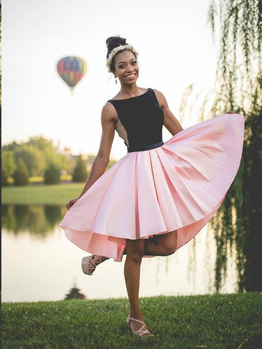 High Low Homecoming Dresses Black and Pink A-line Short Prom Dress Cute Party Dress JK875|Annapromdress