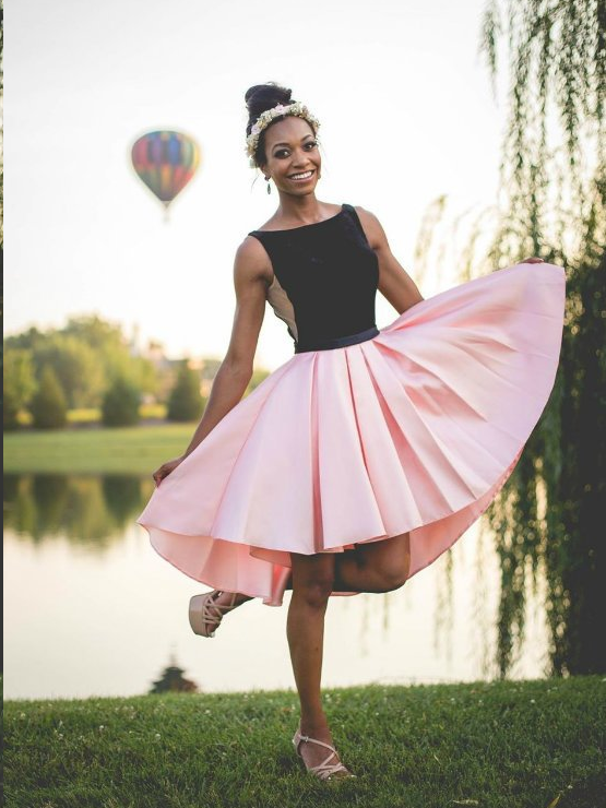 High Low Homecoming Dresses Black And Pink A Line Short Prom Dress Cute Party Dress Jk875
