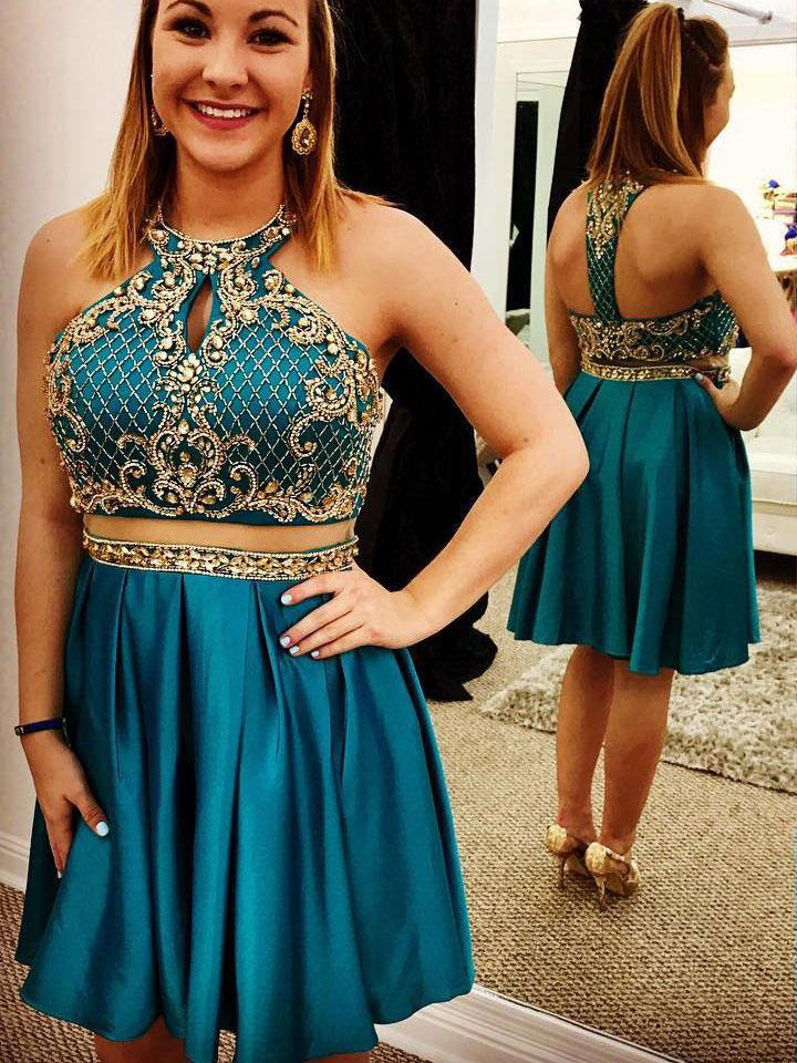 Two Piece Homecoming Dresses Aline Beading Sparkly Short Prom Dress Party Dress JK887|Annapromdress