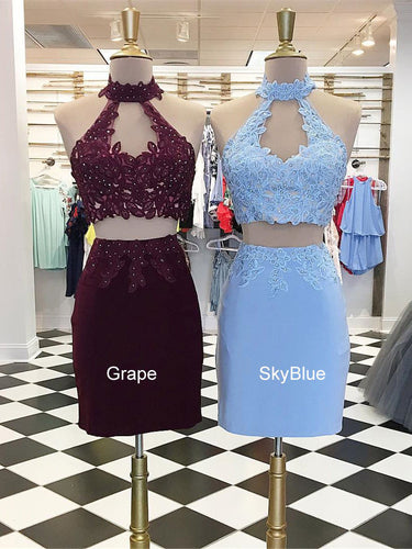 Two Piece Homecoming Dresses A Line Grape Lace-up Short Prom Dress Sheath Party Dress JK888|Annapromdress